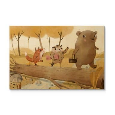 Holzposter Loske - Picknick im Herbst