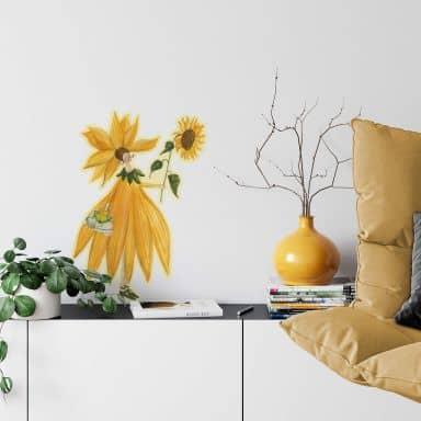 Wall sticker Leffler - Sunflower girls