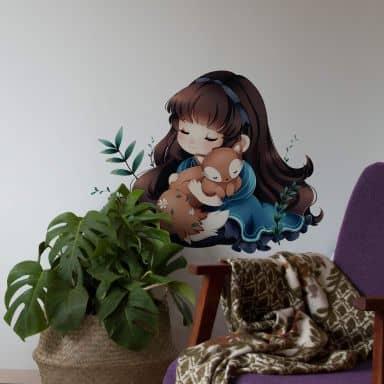 Muursticker La Doll Blanche – Girl with Fox