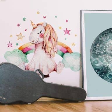 Wall sticker Kvilis - Unicorn with rainbow