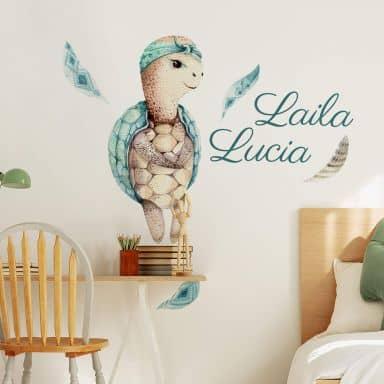Wall sticker Kvilis - Turtle + Name