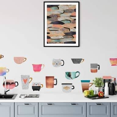 Wall sticker Fredriksson - Colourful Coffee Cups