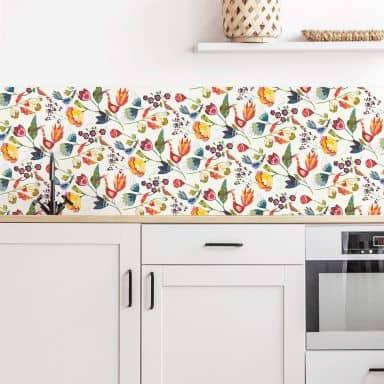 Küchenrückwand - Alu Dibond - Blumen und Vögel