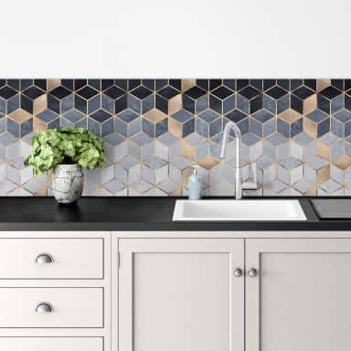 Küchenrückwand Fredriksson - Blaue Geometrie