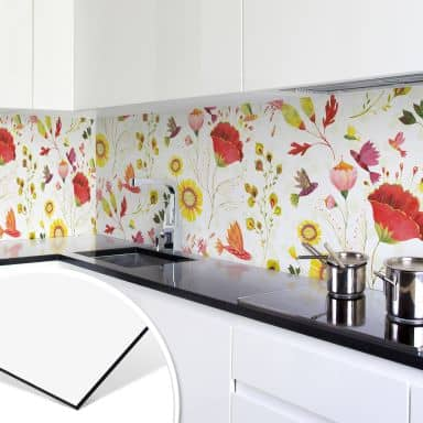 Küchenrückwand - Alu Dibond - Phantastic Flowers