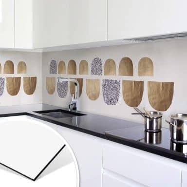 Küchenrückwand Kubistika - Golden Geometrica