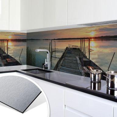 Küchenrückwand - Alu-Dibond-Silber -  Sunset at