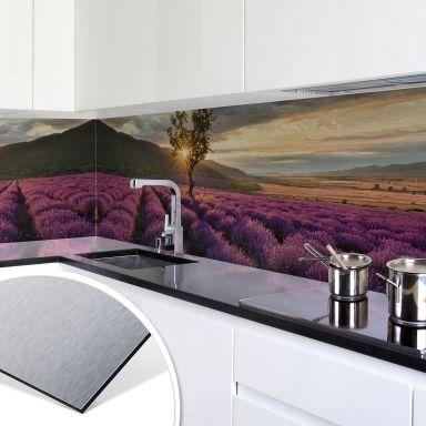 Revêtement pour cuisine - Alu-Dibond - Fleurs de lavande en Provence - Argenté
