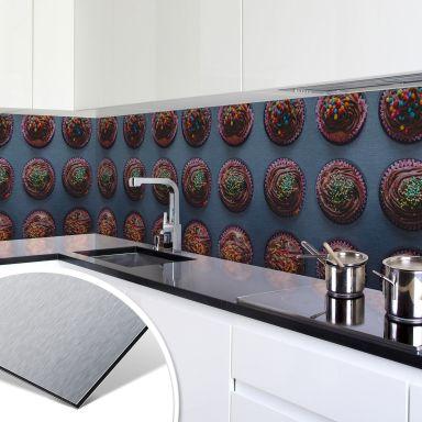 Keukenachterwand - Alu-Dibond Zilver - Birthday Muffins