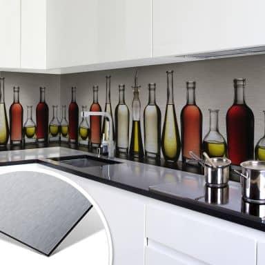Küchenrückwand - Alu-Dibond-Silber - Olio e Acet