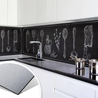 Küchenrückwand - Alu-Dibond-Silber - Rustic Kitc