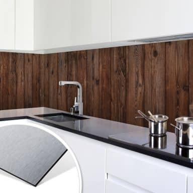 Küchenrückwand - Alu-Dibond-Silber - Holzpaneele