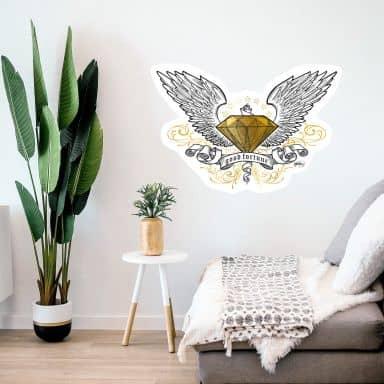 Muursticker LA Ink - Diamant met Vleugels