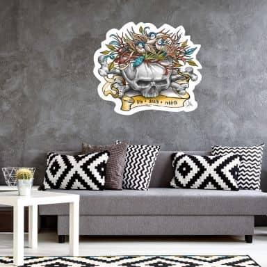 LA Ink Skull with a bird\'s nest Wall sticker