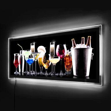 Panorama schwarz Hartschaum Wandbild Cocktail Feeling