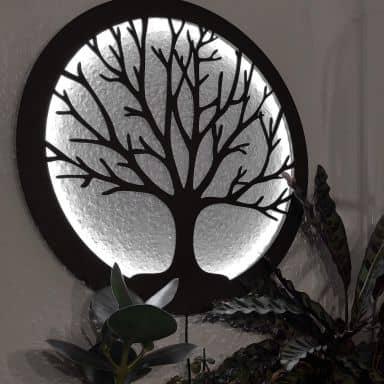 Décoration lumineuse LED en MDF - Arbre de vie
