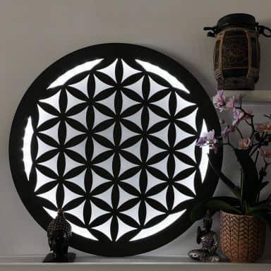 LED-Leuchtdeko aus MDF - Blume des Lebens