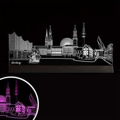 Decorazione LED Skyline Amburgo