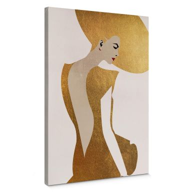 Leinwandbild Kubistika - Die Dame im goldenen Kleid