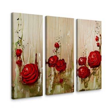 Leinwandbild Fedrau - Roses (3-teilig)