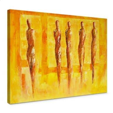 Leinwandbild Schüßler - Fünf Figuren in Gelb