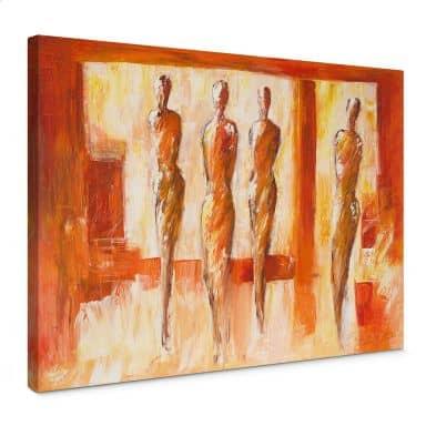 Leinwandbild Schüßler - Vier Figuren in Orange
