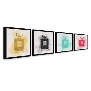 Leinwandbild Eau de Parfum Aquarell Bunt (4-teilig)