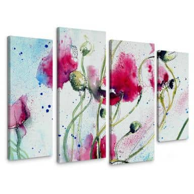 Canvas Print Poppies Watercolour (4 parts)