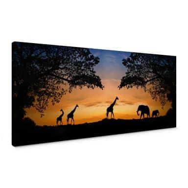 Canvas Zonsondergang in Afrika