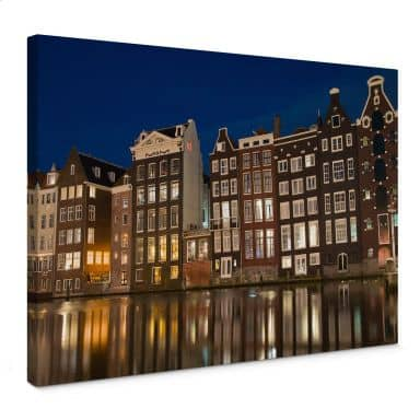 Leinwandbild Amsterdam am Kanal