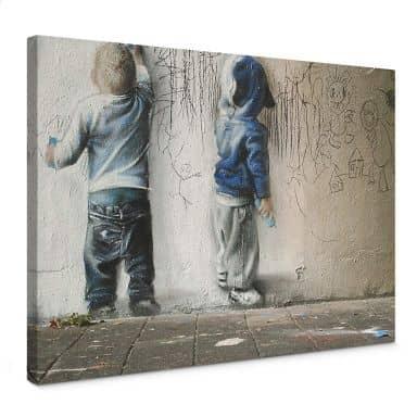 Leinwandbild Banksy - Boys drawing