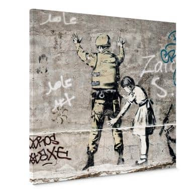 Canvas Banksy - Girl searching soldier