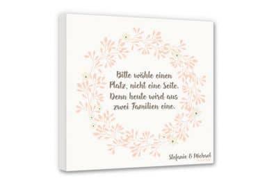 Leinwandbild  Bitte wähle einen Platz - Blütenkranz + Wunschtext