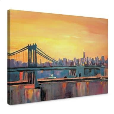 Leinwandbild Bleichner - Blue Manhattan Skyline with Bridge and Vanilla Sky