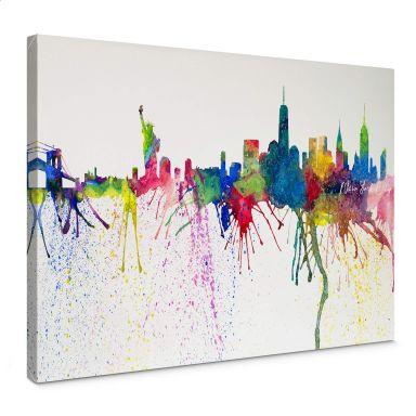 Leinwandbild Bleichner - New York City Aquarell Skyline