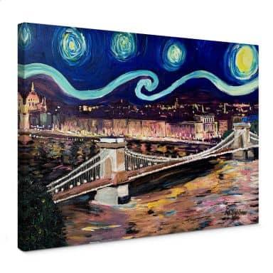 Leinwandbild Bleichner - Starry Night in Budapest