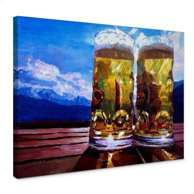 Leinwandbild Bleichner - Zwei Bier in den Bergen