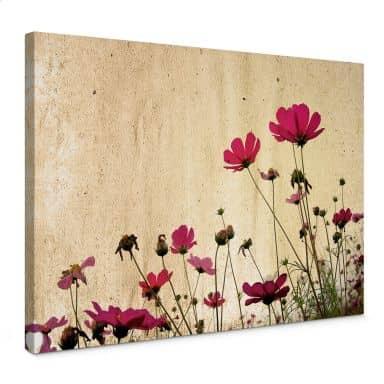 Canvas Bloemen in de wind