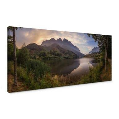 Leinwandbild Cuadrado - Paradise Pond - Panorama