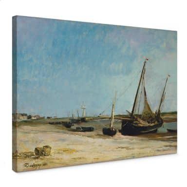 Leinwandbild Daubigny - Boote am Strand von Ètaples