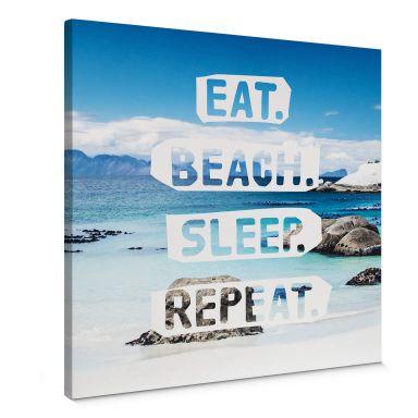 Leinwandbild Eat. Beach. Sleep. Repeat. - quadratisch