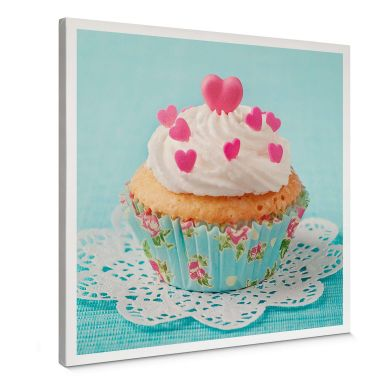 Leinwandbild Hearts on Cupcake - quadratisch