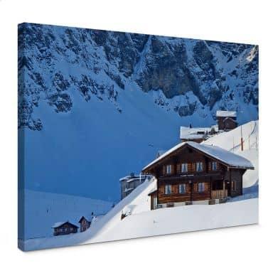 Leinwandbild Ferienhütte in den Schweizer Alpen