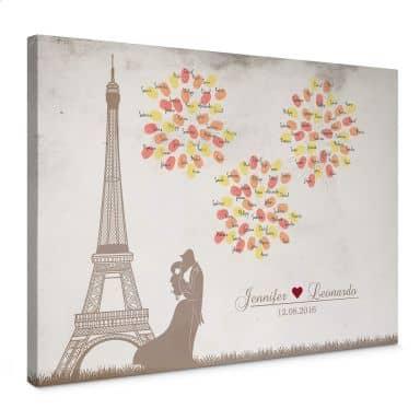 Canvas Vingerafdrukken + Eigen tekst - Vuurwerk in Parijs