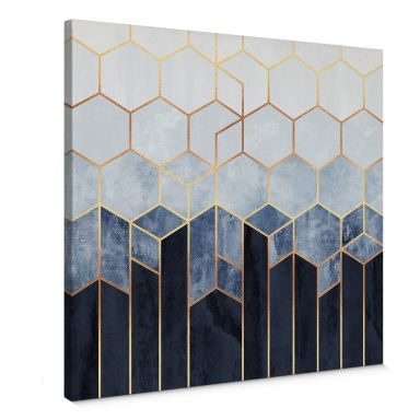 Canvas Print Fredriksson - Blue & White Hexagons