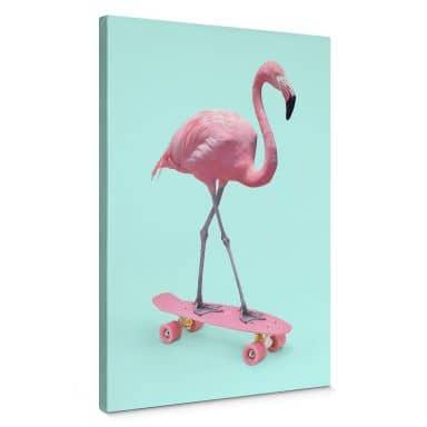 Tableau sur toile Fuentes - Flamant rose sur skate