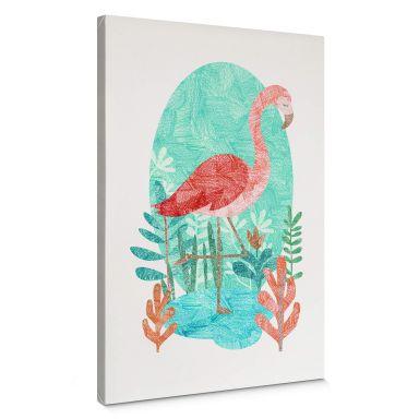 Canvas Print Goed Blauw - Flamingo