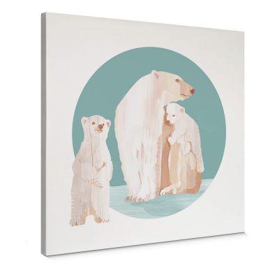 Canvas Print Goed Blauw - Polar Bear Family