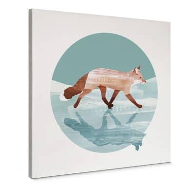 Canvas Print Goed Blauw - Fox in the Snow