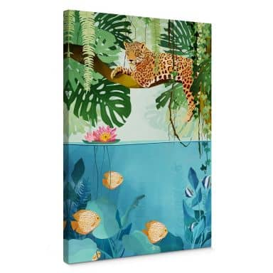 Leinwandbild Goed Blauw - Tiger im Dschungel